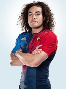 Pierre-Gilles Lakafia en tenue de l'Équipe de France masculine de Rugby à 7